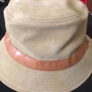 Coach Leather and suede hat